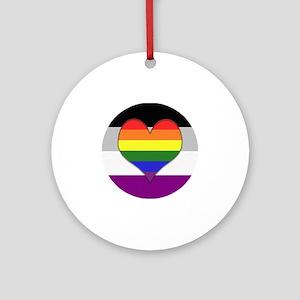 Homoromantic Asexual Heart Round Ornament