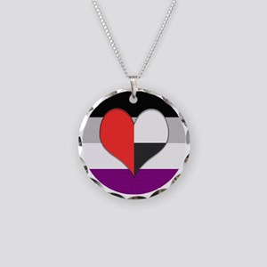 Demiromantic Asexual Heart Necklace Circle Charm