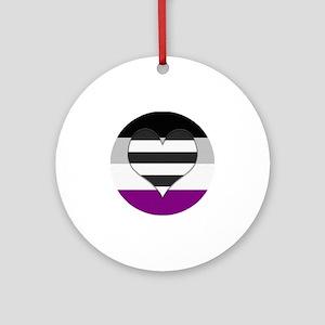 Heteroromantic Asexual Heart Round Ornament