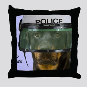 Rottweiler Police Birthday by Focus f Throw Pillow