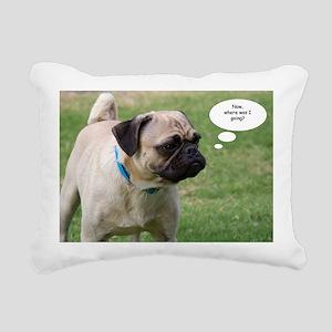 Pug, Now Where Was I Goi Rectangular Canvas Pillow