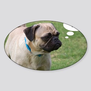 Pug, Now Where Was I Going Birthday Sticker (Oval)
