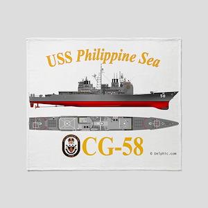 CG-58 USS Philippine Sea Throw Blanket