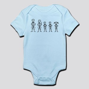 Super Family 2 Boys 1 Girl Infant Bodysuit