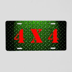 Green 4X4 Diamond Plate Aluminum License Plate