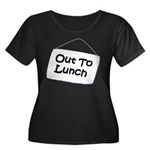 Out to Lunch Women's Plus Size Scoop Neck Dark T-S