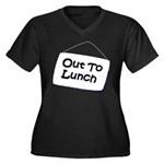 Out to Lunch Women's Plus Size V-Neck Dark T-Shirt