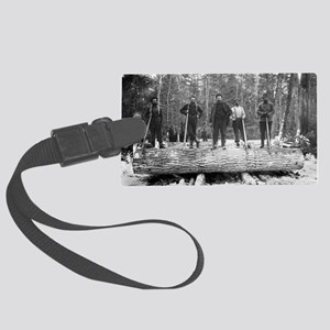 Portrait of Loggers Large Luggage Tag