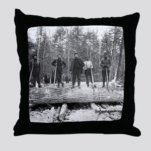 Portrait of Loggers Throw Pillow
