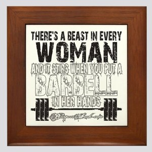 beast in every woman camo snow Framed Tile