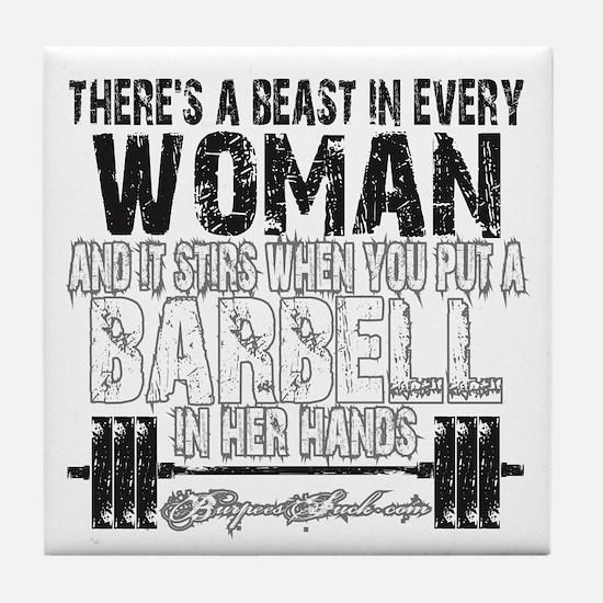 beast in every woman camo snow Tile Coaster