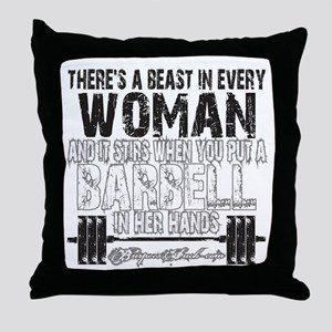 beast in every woman camo snow Throw Pillow
