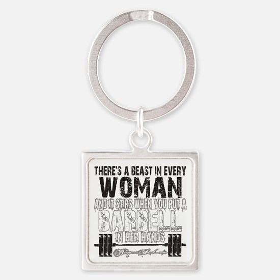 beast in every woman camo snow Square Keychain