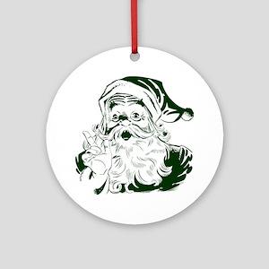 Vintage Christmas, Jolly Santa Clau Round Ornament