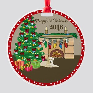 2016 Yellow Labs 1St Christmas Round Ornament