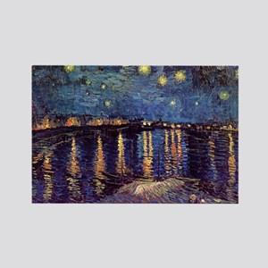 Van Gogh Starry Night Over The Rh Rectangle Magnet