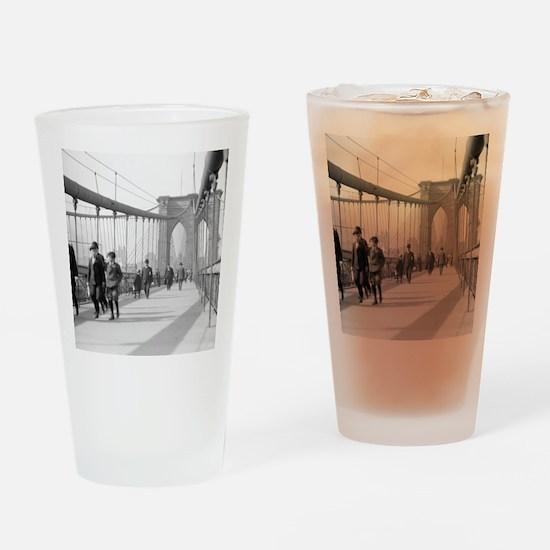 Brooklyn Bridge Pedestrians Drinking Glass