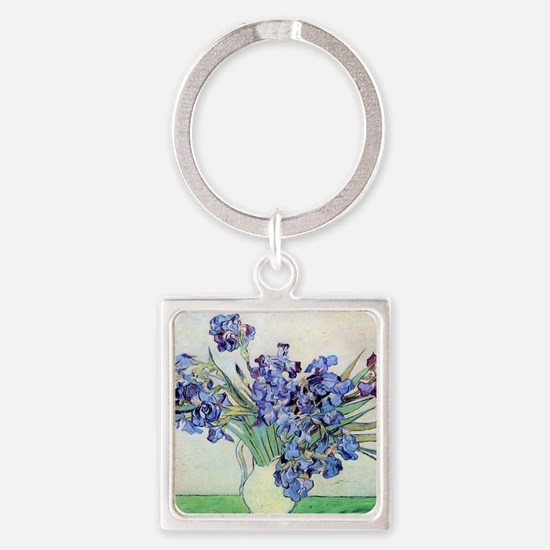 Still Life: Vase with Irises by Vi Square Keychain