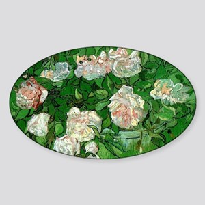 Pink Roses by Vincent van Gogh Sticker (Oval)