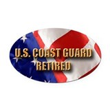 Coast guard retired Oval Car Magnets