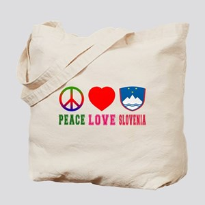 Peace Love Slovenia Tote Bag