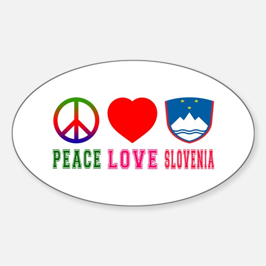 Peace Love Slovenia Sticker (Oval)