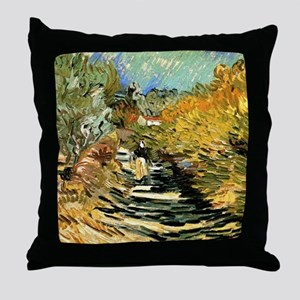 A Road at Saint-Remy by Vincent van G Throw Pillow