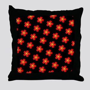 Hokkaido Red Floral Hana 25 Throw Pillow