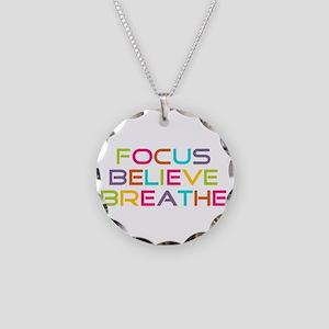 Multi Focus Believe Breathe Necklace Circle Charm