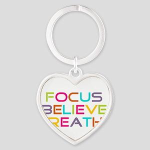 Multi Focus Believe Breathe Heart Keychain