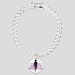 Purple Focus Believe Bre Charm Bracelet, One Charm