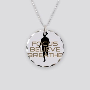 Tan Focus Believe Breathe Necklace Circle Charm