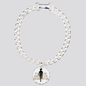 Tan Focus Believe Breath Charm Bracelet, One Charm