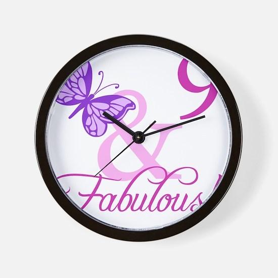Fabulous 9th Birthday For Girls Wall Clock