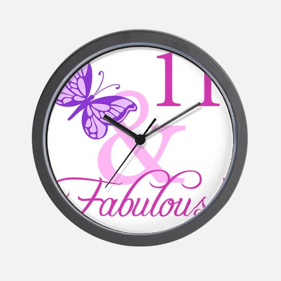 Fabulous 11th Birthday For Girls Wall Clock