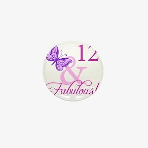 Fabulous 12th Birthday For Girls Mini Button