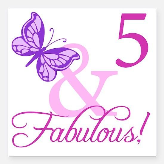 "Fabulous 5th Birthday Fo Square Car Magnet 3"" x 3"""