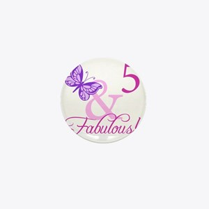 Fabulous 5th Birthday For Girls Mini Button