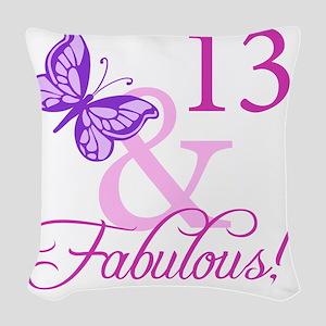 Fabulous 13th Birthday For Gir Woven Throw Pillow