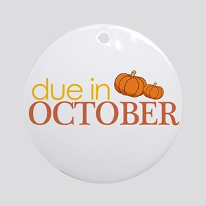 due in october t-shirt Ornament (Round)