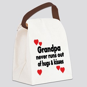 GRANDPA NEVER RUNS  OUT OF HUGS   Canvas Lunch Bag
