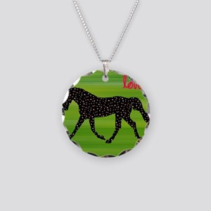 Horse and Hearts Necklace Circle Charm
