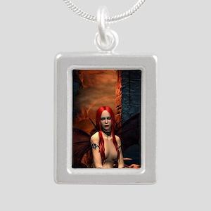 The Bored Demon Silver Portrait Necklace