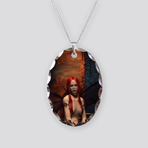 The Bored Demon Necklace Oval Charm