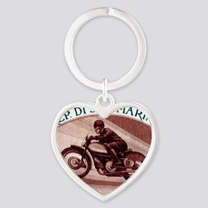 Vintage 1954 San Marino Motorcycle  Heart Keychain