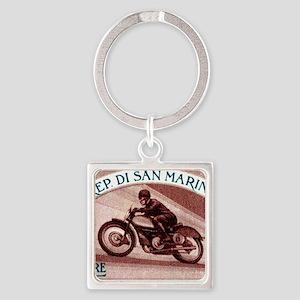 Vintage 1954 San Marino Motorcycle Square Keychain