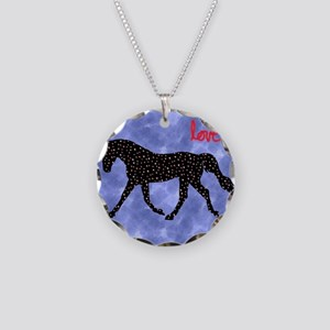 Horse Love with Hearts Necklace Circle Charm