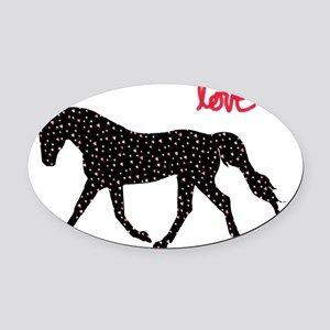 Horse with Hearts Oval Car Magnet