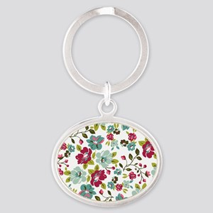plum seed floral Oval Keychain