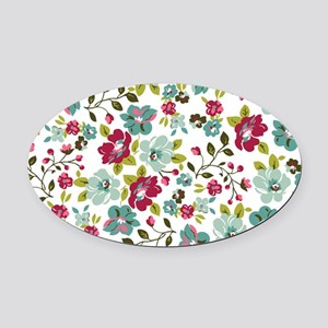 plum seed floral Oval Car Magnet